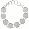 Bezel Handmade Bracelet 5/8in X 4mm Round Links Sliver Plated